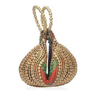 Handbags - NWT Multi Color, Golden Beaded Potli